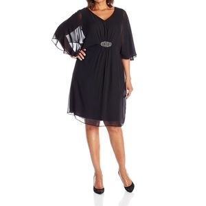 Sheath Dress Plus Chiffon Flutter V-Neck 22W
